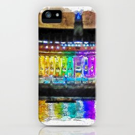 Aquarelle sketch art. Illuminated County Hall building in London at night iPhone Case