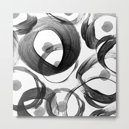 Modern abstract black white hand painted brushstrokes Metal Print