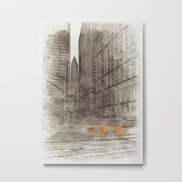 NYC Yellow Cabs Trinity Place - SKETCH Metal Print