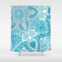 henna Shower Curtains featuring Seaside Henna by Molly C. Werts