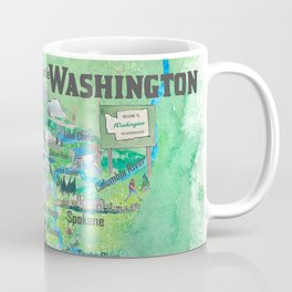 USA Washington State Illustrated Travel Poster Favorite Map Coffee Mug