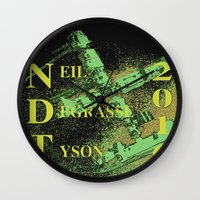 neil gaiman Wall Clocks featuring Neil Degrasse Tyson 2016 Vintage by Abram Freitas