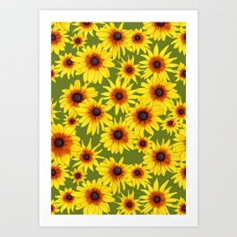 Yellow Flowers Pattern | Green Background Art Print
