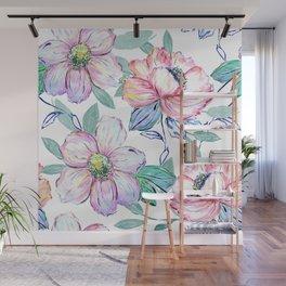 Romantic watercolor flowers hand paint design Wall Mural