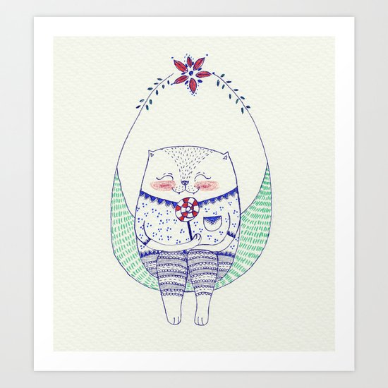 lollipop cat Art Print