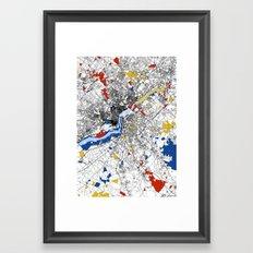 philadelphia map mondrian Framed Art Print