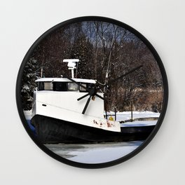 Boat in ice Wall Clock