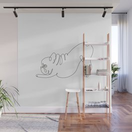 One line Frenchie Downward Dog Wall Mural
