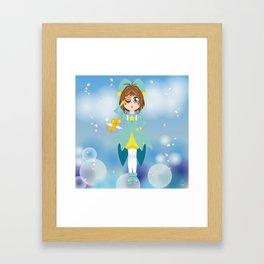 Mini Me Stars: Green Sakura Framed Art Print