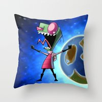 invader zim Throw Pillows featuring Invader Zim by DROIDMONKEY