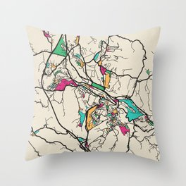 Colorful City Maps: Siena, Italy Throw Pillow
