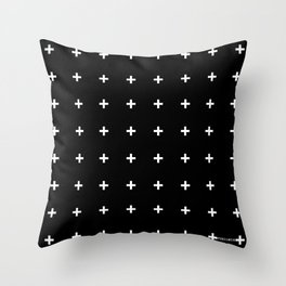 White Plus on Black /// www.pencilmeinstationery.com Throw Pillow