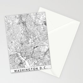 Washington D.C. White Map Stationery Cards