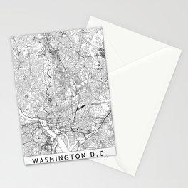 Washington D.C. White Map Stationery Cards