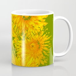 ABSTRACTED MOSS GREEN  FIRST SPRING YELLOW DANDELIONS Coffee Mug