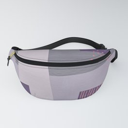 Purple, Gray and Orange Abstract Collage Fanny Pack