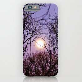 Full moon and purple sky iPhone Case
