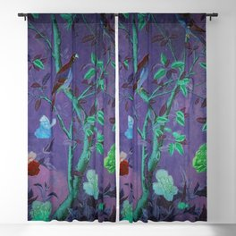 Aubergine & Teal Chinoiserie Blackout Curtain