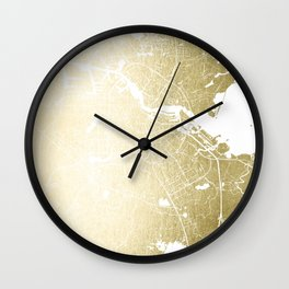 Amsterdam Gold on White Street Map Wall Clock