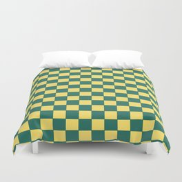 Checkers - Green and Yellow Duvet Cover