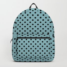 Small black polka dots on a light blue background. Backpack