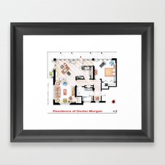 Floorplan of Dexter Morgan's Apartment v.2 Framed Art Print
