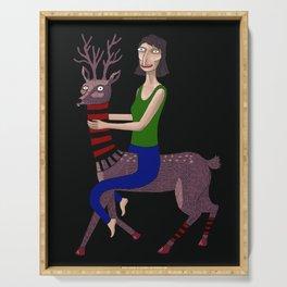 Woman, Doe, Deer, Roe Deer, Surrealism Serving Tray