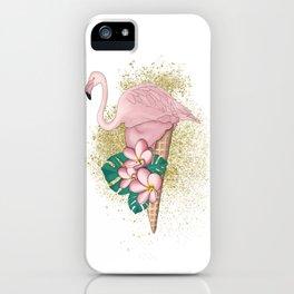 Flamingo Ice Cream With Gold iPhone Case