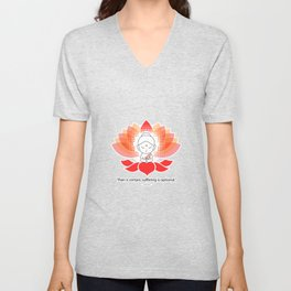 Buddha saying Namaste while sitting on a sacred lotus. Unisex V-Neck