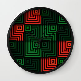 Red and green tiles with op art squares and corners Wall Clock