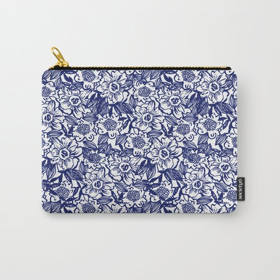 Indigo Florals watercolor painterly botanical boho pattern print nature spring summer monochromatic Carry-All Pouch