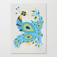 peacock Canvas Prints featuring Peacock by Cat Coquillette