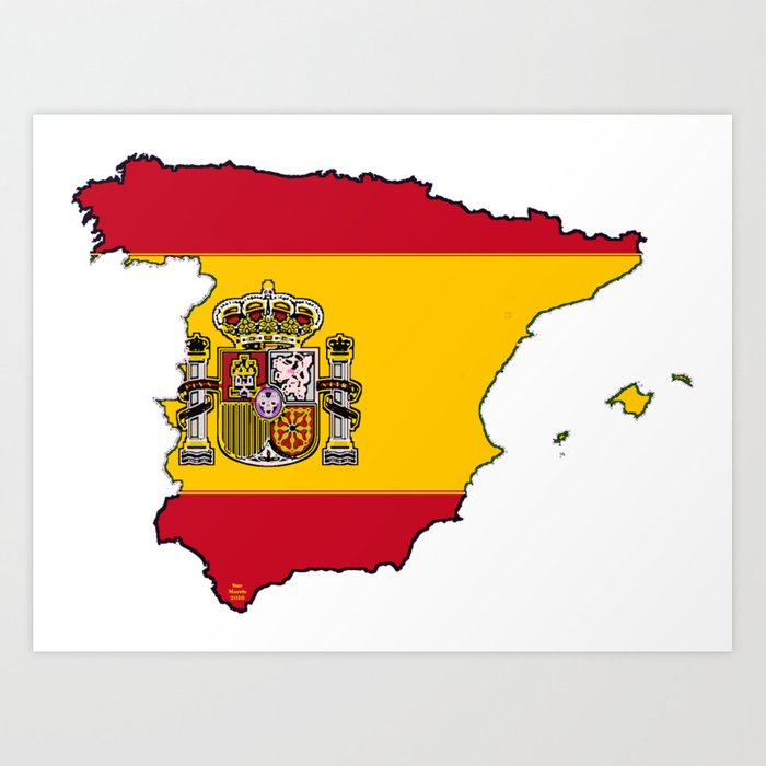 Spanish Map Of Spain.Spain Map With Spanish Flag Art Print By Havocgirl