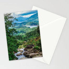Green valley overview with mountains and waterfall Stationery Cards