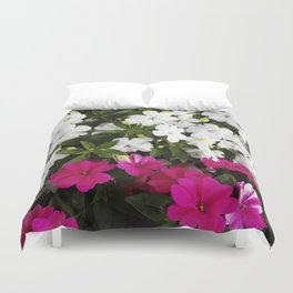 Patient Impatiens - Deep Pink and Sparkling White Duvet Cover