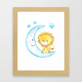 baby lion, blue moon with stars, baby boy room, baby shower gift, watercolor painting Framed Art Print