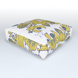 Portuguese tile of wild flowers Outdoor Floor Cushion