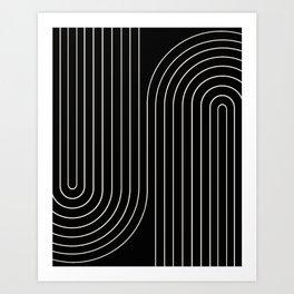 Minimal Line Curvature - Black and White II Art Print