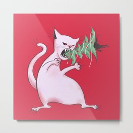 Funny Fat White Cat Eats Christmas Tree Metal Print