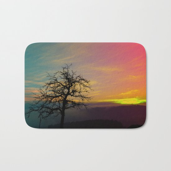 Old tree and colorful sundown panorama | landscape photography Bath Mat