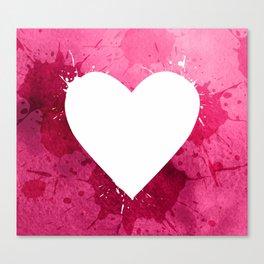 Pink watercolor splash heart texture Canvas Print