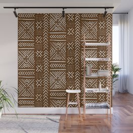 Line Mud Cloth // Brown Wall Mural
