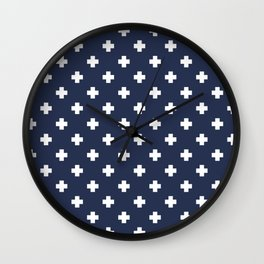 White Swiss Cross Pattern on Navy Blue background Wall Clock