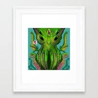 cthulu Framed Art Prints featuring Cthulhu by Tyler Lederer
