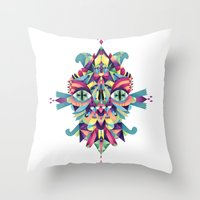 mask Throw Pillows featuring Mask by Cobrinha