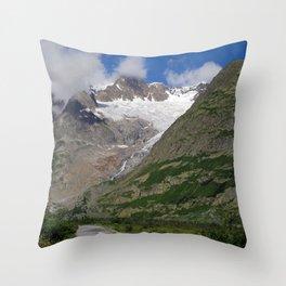 Road Snowy Mountain Peaks Alpine Landscape Throw Pillow