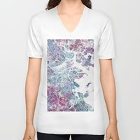 boston V-neck T-shirts featuring Boston map by MapMapMaps.Watercolors