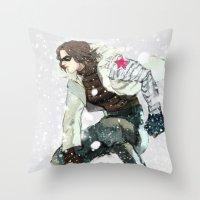 winter soldier Throw Pillows featuring winter soldier by MacheteJo