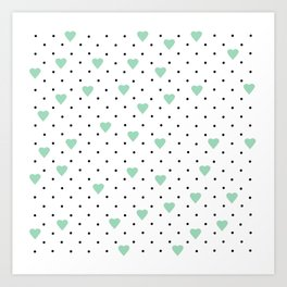 Pin Point Hearts Mint Art Print