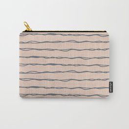 Minimalist Stripes Navy Gray on Blush Pink Carry-All Pouch